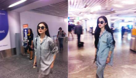叶璇穿睡衣和男友现身机场,网友:这是刚起床?