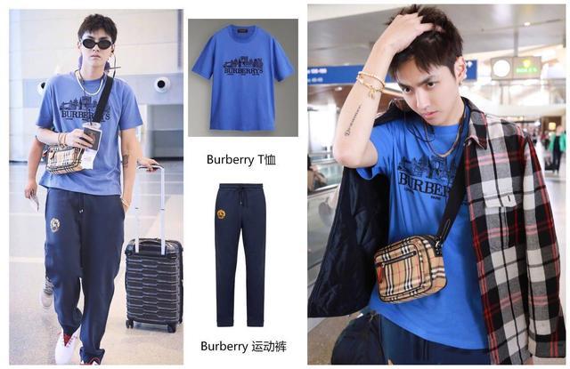 吴亦凡连简约T恤+运动裤都能穿这么帅,不得不说burberry眼光真好