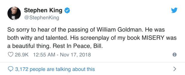 """""""虎豹小霸王""""编剧威廉姆高德曼去世"""