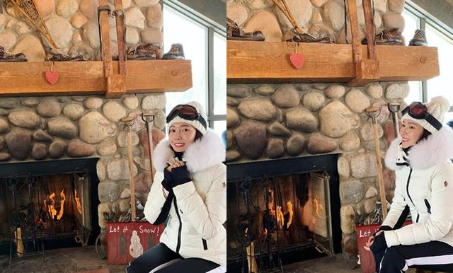 郑秀妍圣诞节晒滑雪美照,身穿白色滑雪服又美又飒