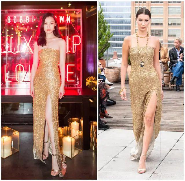 倪妮穿金色礼服裙化身锦鲤,身材妙曼超模都比不上