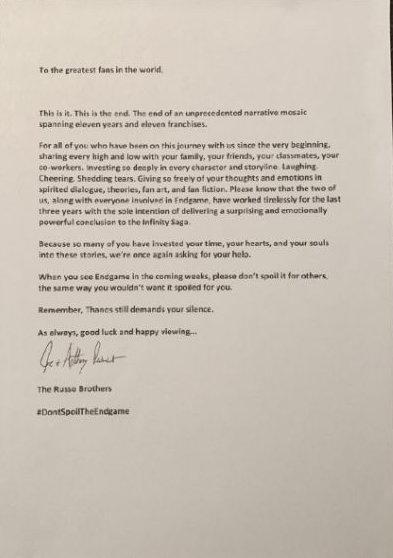 罗素兄弟写下长文 恳请粉丝不要剧透《复联4》