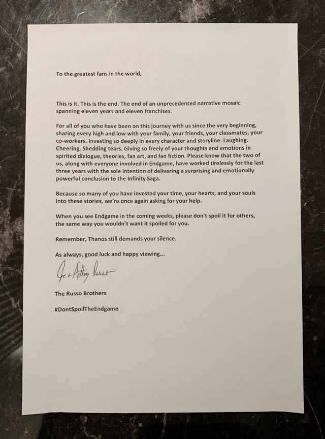 《复联4》导演发公开信抵制剧透:灭霸要你们保持沉默