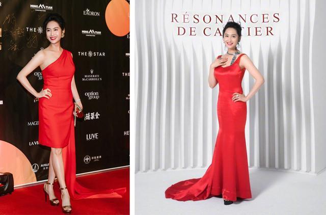 48歲朱茵紅裙造型好驚艷,優雅風采不減當年,短發反而更有女人味