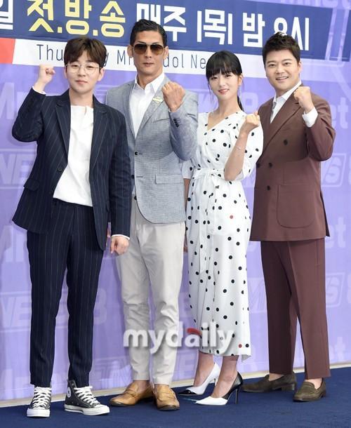 朴俊亨尹普美等韩国艺人出席Mnet《TMI NEWS》发布会