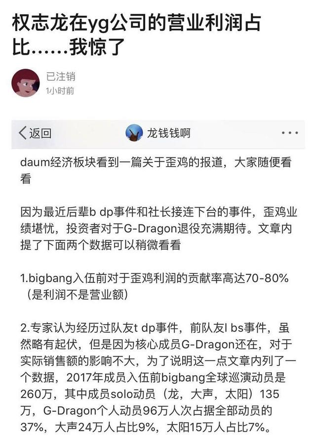 韩网爆权志龙在yg公司的营业利润占比,网友:一个人撑起一个公司啊