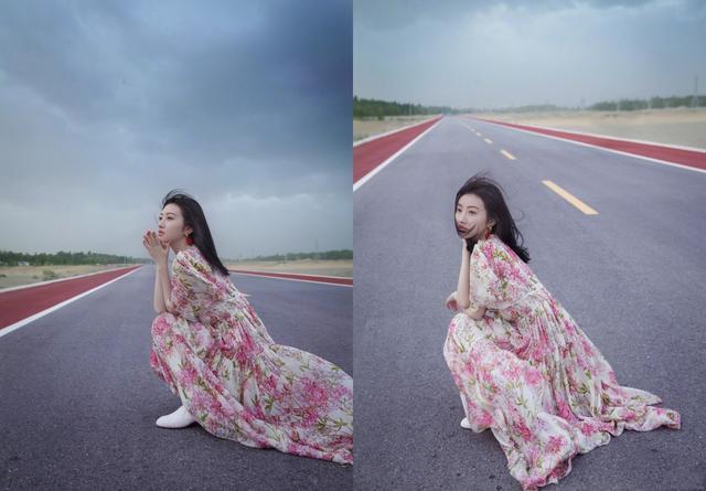 景甜又晒美照,一袭碎花长裙迎风而立,衣袂飘飘,又美又仙