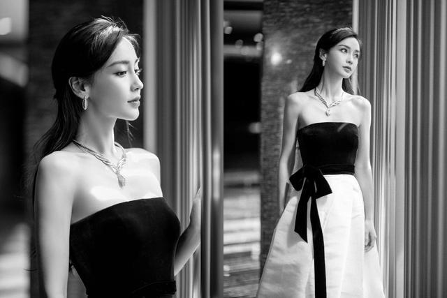 又一次被杨颖的活动照美到了,身穿拼接礼服裙,清新甜美浪漫优雅