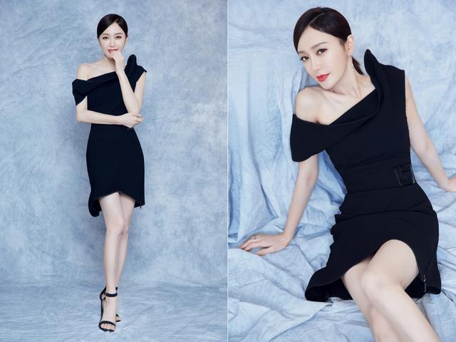 秦岚的气质真是太好了,身穿一袭黑色斜肩礼服,高贵优雅大方