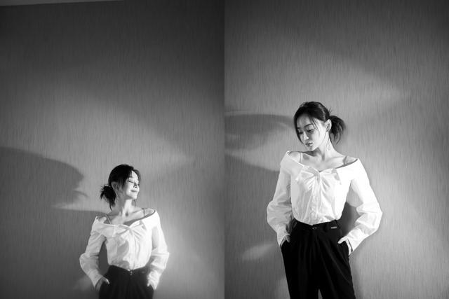 袁姗姗这个锁骨杀真是太优秀了,身穿白色一字领衬衫知性又大方