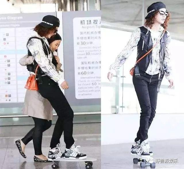 明星在机场滑滑板,是个人自由还是太做作?