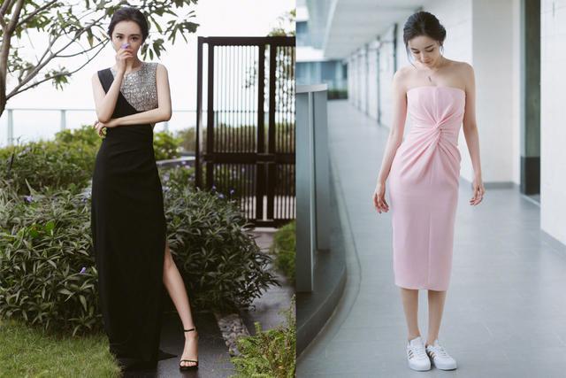 杨幂解锁潮人风格,挖腰黑长裙惊艳红毯,粉色抹胸裙变甜美丽人