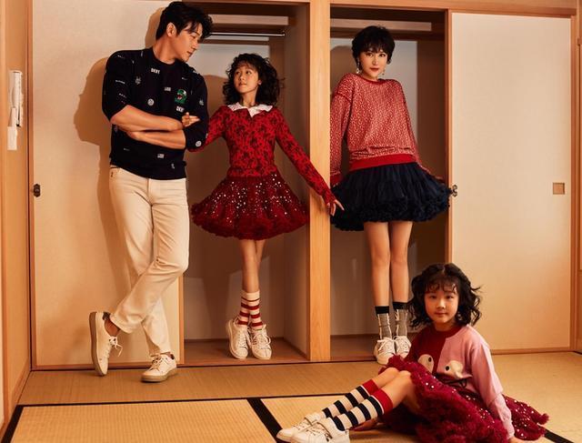 陆毅一家四口温馨同框,两女儿酷似双胞胎,11岁贝儿漫画腿瞩目